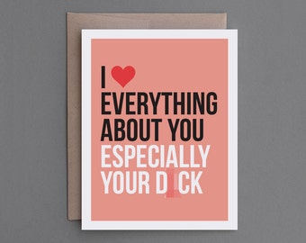 """Funny Love, Anniversary, Valentine Card for Man, Boyfriend, Husband, Gay Man. Mature Adult. Naughty, Sexy. LGBT. """"Your Dick"""" (CL002)"""