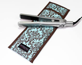 LAST ONE - Flat Iron, Curling Iron Travel Bag Case, Damask, Blue/Brown - In Stock Ready To Ship