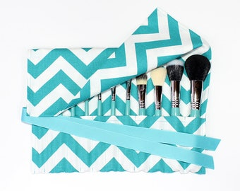 Makeup Brush Roll Holder Organizer, Chevron, Teal Turquoise/White - In Stock Ready to Ship