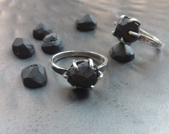 RAW matte onyx and silver silver ring
