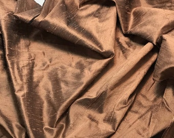 LIGHT COPPER Silk DUPIONI Fabric - fat 1/4