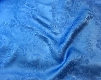 """Hand Dyed CORNFLOWER BLUE FLORAL - Silk Jacquard Fabric - 9""""x22"""" remnant"""