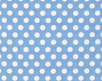 Michael Miller Kiss Dot Sky Blue & White - Cotton Quilting Fabric  - fat 1/4 remnant