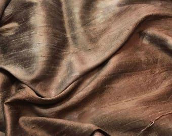 Hand Dyed CHOCOLATE BROWN Silk DUPIONI Fabric - fat 1/4