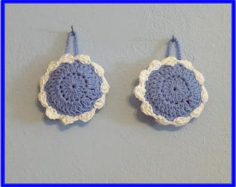 Clearance Sale Scrub Pads Set Of Two Crochet Cotton on Thick Nylon Flower Scrubbie Pads Blue and White