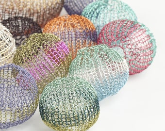Mini Crochet tutorial - Wire Crochet Pattern - Wire Crocheted Balls - PDF pattern - Learn how to crochet perfect round mesh balls - Orb