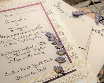 Love Notes and Lavender Wedding Invitation Suite