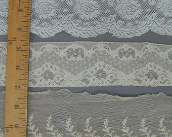 3 Wide Antique Lace Trims, Early 1900s Edwardian Laces, Yardage Remnants
