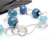 Blue lampwork glass, aquamarine and sterling silver chunky bracelet, boho bracelet, March birthstone bracelet, hallmarked
