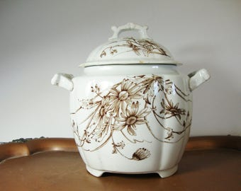vintage transfer ware brown on white antique china daisy pattern sugar bowl