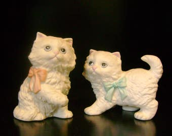 White Persian Cat Set - Homeco/Home Interiors - 1970s