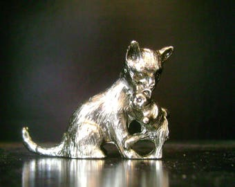Vintage Pewter Mother Cat and Baby