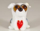 I Heart Bulldogs Lampwork Dog Bead