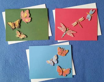 Three Blank Cards with 3D Butterflies and Dragonflies, pink green and blue, butterfly cards, dragonfly card