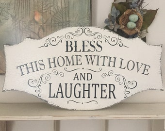 BLESS OUR HOME, Love and Laughter, Family Signs, Family,  27 x 14