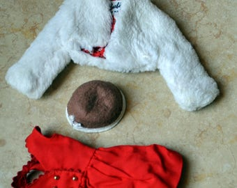 Barbie Clothing lot of 3 Items -  Icebreakers #942 White Faux Fur Jacket Coat -  Sorority Meeting Brown Hat #937 - and Skipper Red Dress