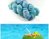 Swim Up Bar - Postcard - Speckled Yarn - Speckled Sock Yarn - Blue Yarn with Bright Speckles