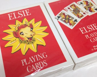 2 Elsie the Cow Borden Playing Card Decks, SEALED from 1993, Made in the USA, Dairy Advertising, Pictures of Cows on Cards, Cartoon