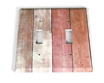 Double Switchplate  Light Switch Cover  Switch Plate in Pink Barnwood  (283D)