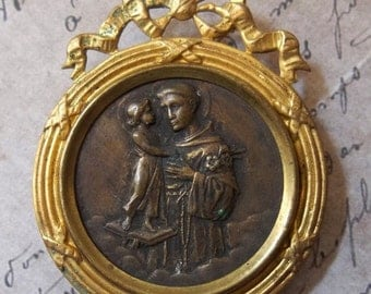 ON SALE Victorian Saint Anthony Patron Of Lost Things & Missing Persons, Gold Ormolu Metal Shrine Portable Devotional Picture Ribbon, Made I