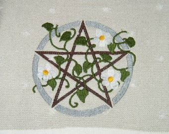 Embroidered * Celtic * Earth Pentacle * 100% Cotton Kitchen/Dish Towel * Wiccan * Magick * Pagan * Witch * Wicca