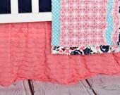 Light Coral Ruffle Crib Skirt - Coral Nursery Bedding Dust Ruffle - Pink Girls Long Crib Skirt - Crib Bedding Girl Bedskirts - Coral Nursery