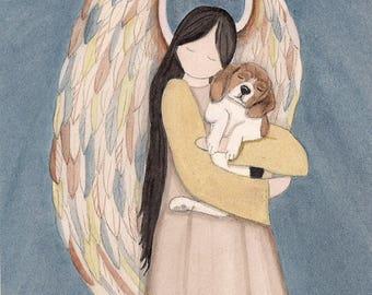 Beagle cradled by angel / Lynch signed folk art print