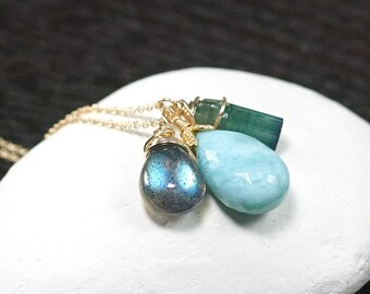 Larimar, Teal green Tourmaline, Labradorite, 14k gold filled necklace, Charm necklace, Layering Necklace, Gift for Her