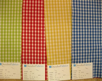 Duralee Cotton Gingham Check Upholstery Designer Fabric Sample Lot of 4