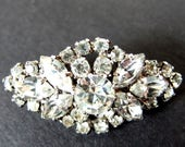 Vintage Rhinestone Brooch, Diamond Shaped Pin, Marquise, Round and Square Cut Stones