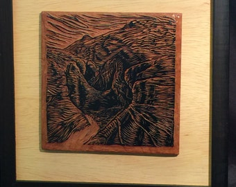 """FRAMED Southwest Canyon """"They Let You In"""" Original Block and Matted Woodcut Print Valley of Fire Red Rock Desert"""