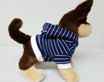 Dog Clothes Blue Striped Hoodie, Chihuahua, Yorkie