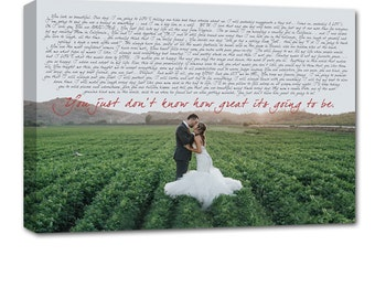 Personalized canvas with photo and words love letters, Your words Wedding Canvas , Your art