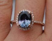 Tanzanite Ring. Rose Gold Ring. 2.08ct Lavender Mint Tanzanite oval cut engagement ring 14k rose gold.