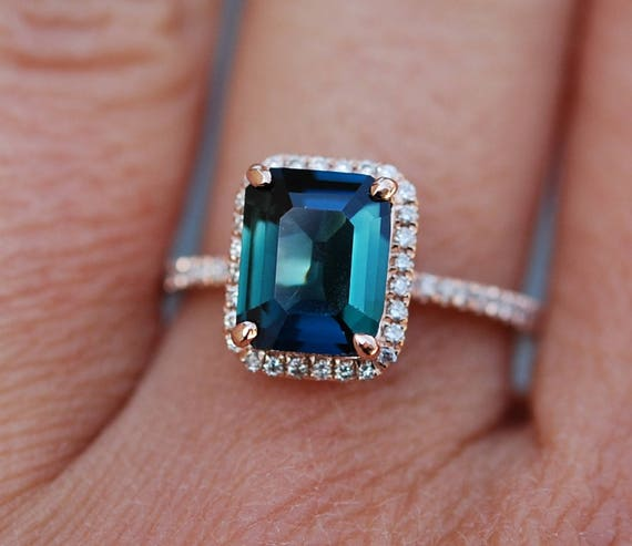 Green sapphire engagement ring. Peacock green sapphire 3.75ct cushion halo diamond  ring 14k Rose gold. Engagenet rings by Eidelprecious.