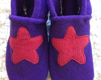 Free shipping: Red Star & Purple Fleece Slippers with Grip Tight Soles (8 inch soles/shoe sizes 13 to 13.5 kids).