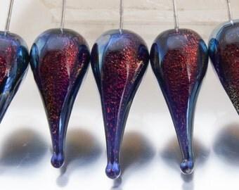 Lampwork headpins: Carnival teardrop in black cherry on sterling silver wire - by Jennie Yip