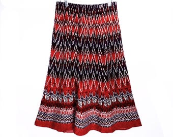 vintage ethnic TRIBAL hippie skirt // lightweight rayon // 90's summer hippie skirt // ethnic long skirt // size S