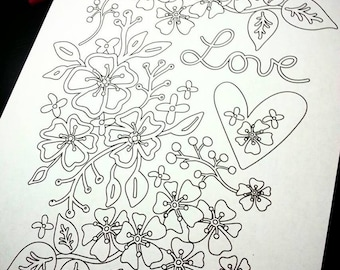LOVE coloring page floral design PDF - embroidery valentine color