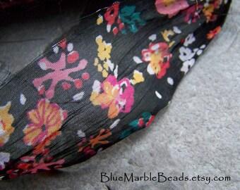 Recycled Sari Ribbon, Silk Sari, Multicolored, Floral Ribbon, Silk Sari Ribbon, India Ribbon, Chiffon Ribbon, Sheer Silk Ribbon, 4 Yards