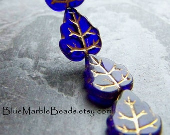 Glass Leaf Beads, Vintage Glass, Czech Glass Beads, Pressed Glass, Colbalt Blue, Boho Beads, Boho Chic, Rustic Beads, Leaf Bead, 12 Beads