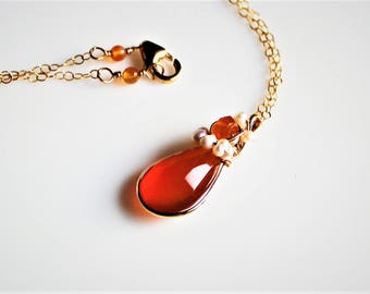 Carnelian Gold Necklace