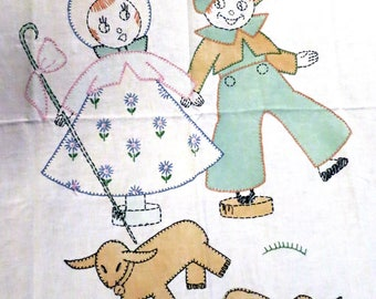 1920's Childs Linen Crib BlanketSheep Cotton Embroidered Hand Painted Lamb Boy & Girl
