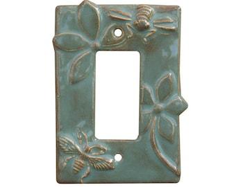 Honeybees Single Rocker Switch Plate in Antique Teal Glaze