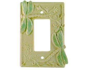 Dragonflies Ceramic Single Rocker Switch Plate in Cream Moss glaze
