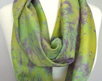 """Hand Dyed Silk Infinity Scarf - 11 x 76"""", Chartreuse, Green, Purple Long Infinity Loop"""
