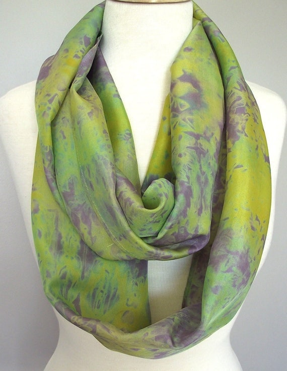"Hand Dyed Silk Infinity Scarf - 11 x 76"", Chartreuse, Green, Purple Long Infinity Loop"
