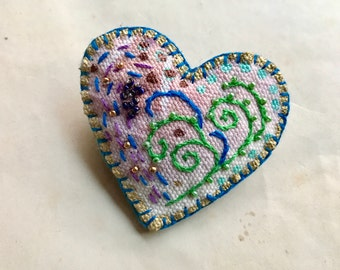 Green Heart Brooch with Beads and Embroidery on Hand Painted Fabric
