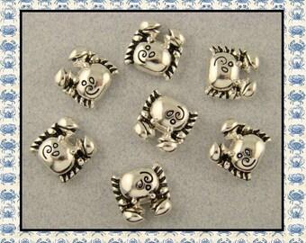 2 Hole Beads Crabs Mini ~Ocean Beach Sea Alaskan King ~ Sliders or Buttons ~ Silver Metal QTY 7     (SKU 532869755)