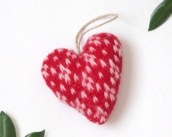 Red and White Valentine's Day Ornament, Valentine's Day Ornament, Valentines Decor, Valentines Heart